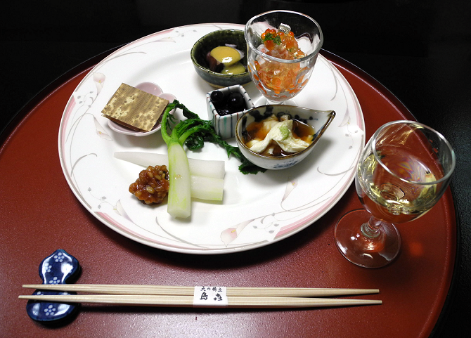 One course of a traditional ryokan dinner, stay in a ryokan, the real japan
