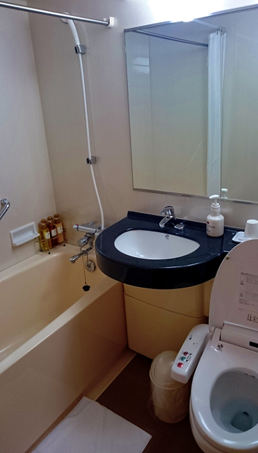 The bathroom - complete with proper bath! cheap hotel in Toyko