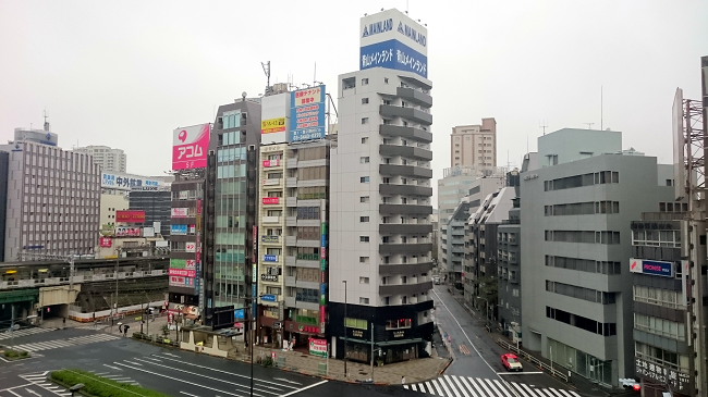 View from the balcony out over Gotanda, cheap hotel in Toyko