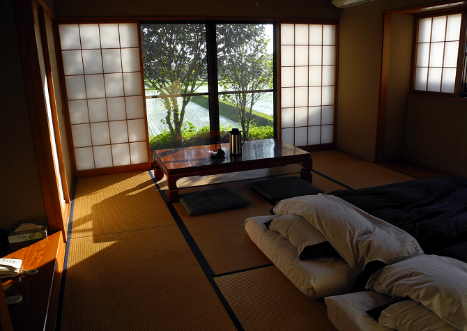 Typical ryokan room interior, stay in a ryokan