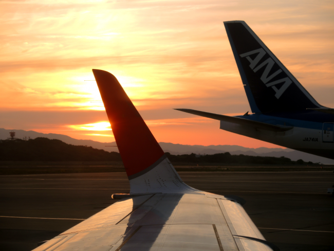 Airplane tails at sunset