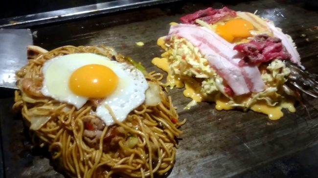 Left: yakisoba, Right: okonomiyaki