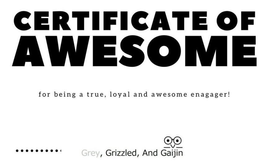 "TRJ Awarded ""Certificate of Awesome!"" from Grey, Grizzled and Gaijin"