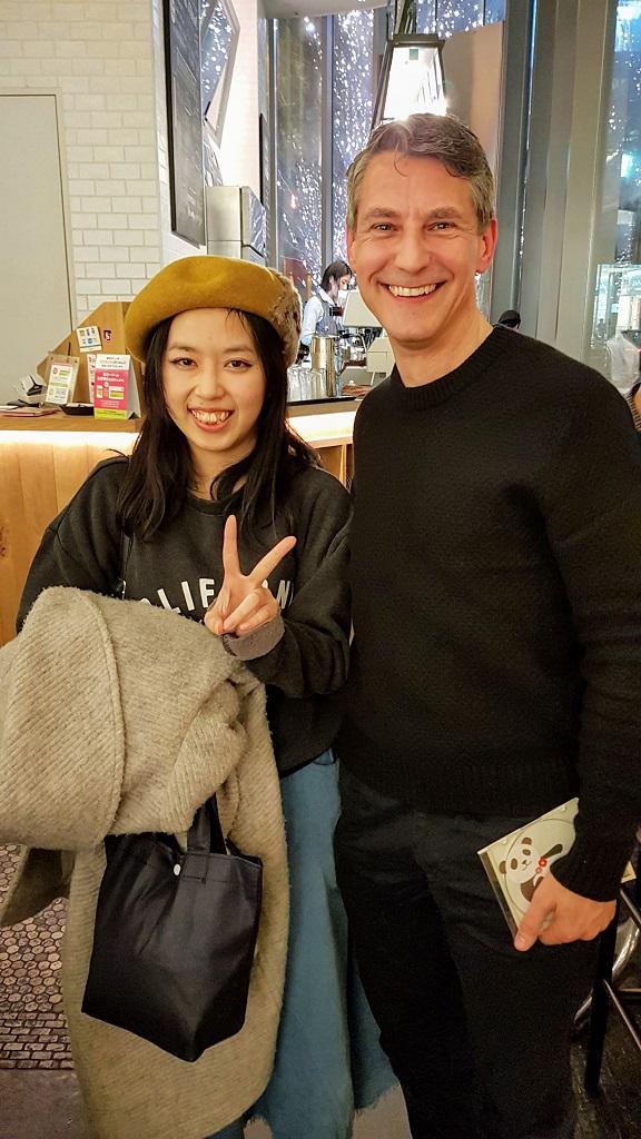 Japanese musician BLACKKUR0 with Rob Dyer at The Real Japan MeetUp 2018, Bib Bar, Osaka