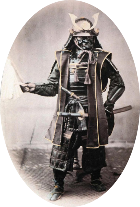 Hand-tinted photograph of a samurai warrior