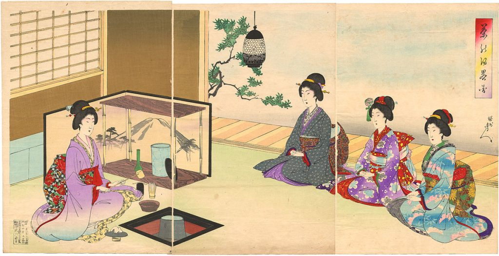 Yoshu Chikanobu Japanese tea ceremony woodblock print The Real Japan