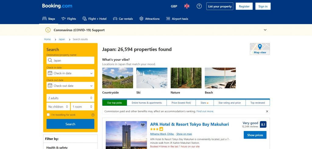 Booking.com site The Real Japan travel resources