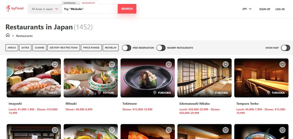 byFood restaurants site The Real Japan travel resources