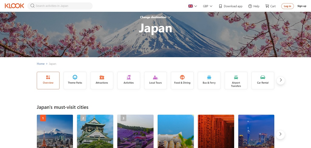 Klook experiences site The Real Japan travel resources